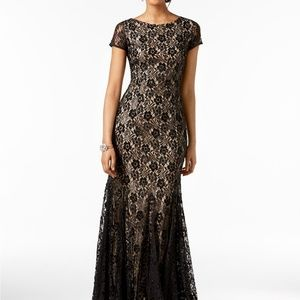 Adrianna Papell Lace V-Back Gown Black Nude Size 2
